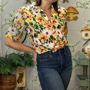 Vintage yellow purple painted look floral blouse
